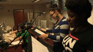 Students adding voice over to a film