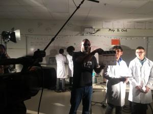 Mr. Clark calls the slate for scene 4