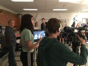 Student Director and Cinematographers work together to compose the shot