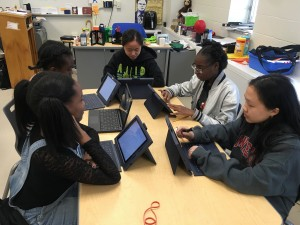 Students work together to workshop their script